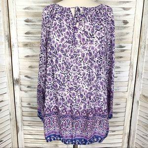 Lucky Brand Purple & White Paisley Top